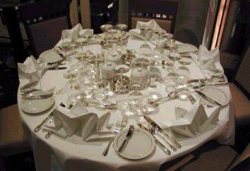 Qual é a configuração da mesa em um restaurante