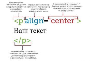 HTML tagów dla tekstu: wyrównanie, rozmiar czcionki