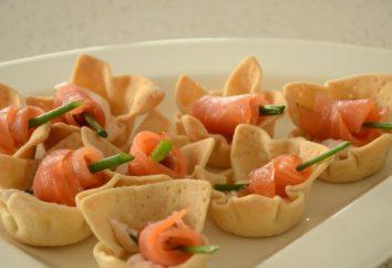 Tartlets con salmone e ricotta. Diverse opzioni di ricetta