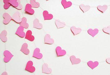 Garland von Herzen mit den Händen auf der Hochzeit und Valentinstag